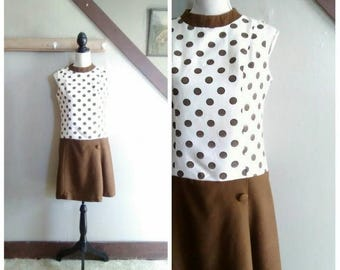 20% OFF / New Business 1960s Mod Cream & Brown Polka Dot Linen Drop Waist Shift Dress