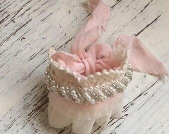 Blush cuff bracelet- Couture- Flower girl bracelet- bridal cuff bracelet- dollcake- tutu du monde- newborn prop