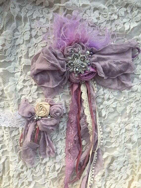 Lavender Drippy Bow Headband