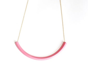 Geometric Pink Licorice Necklace.              Pink Curved Bar Necklace.    Minimal Modern Jewelry with a Charitable Donation