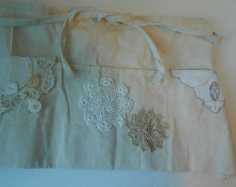 Half apron embellished with ecru vintage trims for crafters vendors gifts