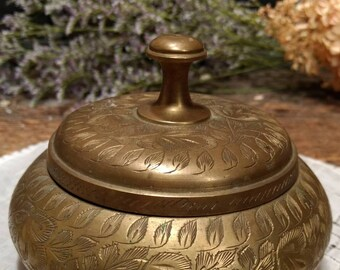 Vintage Etched Brass Lidded / Covered Bowl, Made in India
