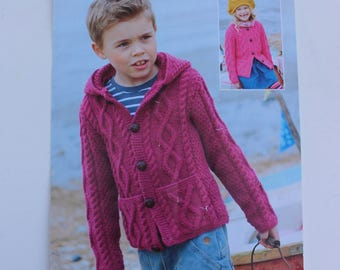 Sirdar Knitting Pattern 2334, Child's Cardigan Pattern, Hooded Cardigan Pattern, Cable knit Cardigan Pattern, Sirdar Supersoft Aran Pattern