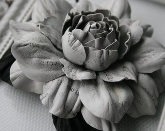 Grey Newspaper Leather Rose Flower Brooch/ Hairclip
