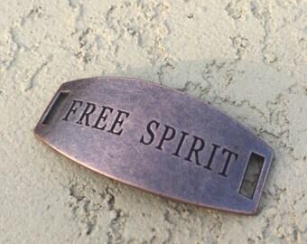 Antique Copper Bracelet Connector- Free Spirit - DIY - Destash - Metal Cuff Plate
