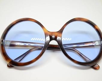 Vintage Round Non-prescription Light Blue tinted lenses