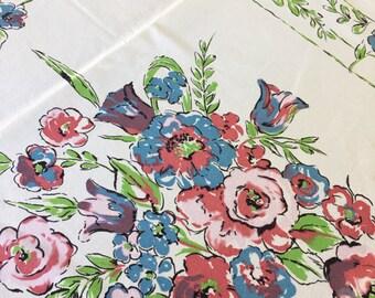 Vtg Tablecloth Blue Pink Floral 44 x 51