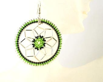 Native American Dream Catcher Earrings - Green - Authentic Native Made -  Free Shipping