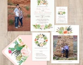 Succulent Photo Wedding Invitation - Custom Wedding Invitation Set - summer succuletns, blush, peach and greenery, NEW, custom paper design