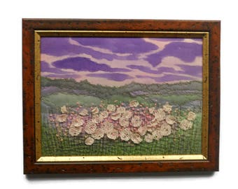 Fiber art Textile  Wall hanging pictures  Embroidered landscape