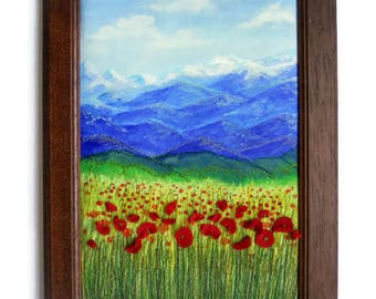 Fiber art Wall hanging framed Textile  picture Poppy Embroidery painting
