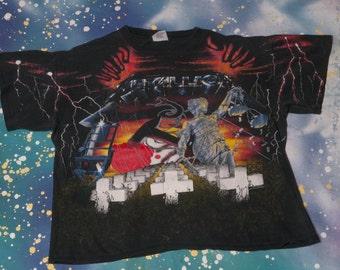 1991 METALLICA All Over Print T-Shirt Size XL Brockum 90s Concert Tour