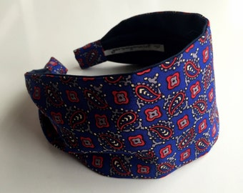 Vintage pure silk scarf repurposed headband for women blue red paisley hippie retro wide hairband Talbots scarf hairband