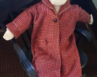 Vintage Toddler's / Child's Beacon Blanket Robe -- Size 2, Brick Red and Brown Checked Warm Cotton, 1940s or 1950s, As Is