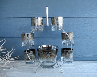 Vintage Mid Century Silver Ombre Floral Embossed Barware Set, Chrome Caddy, Ice Bucket and Set of 6 Lowball Glasses