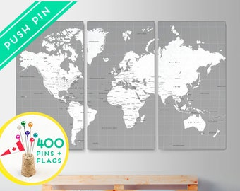 Canvas World Map Push Pin Large Size - Gray White Color - Set 3 CANVAS - Ready to Hang - 480 Pins Included