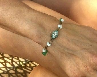 HOLIDAY SAVINGS Micro Mosaic Bracelet 1920 1930 Romantic Vintage Bridal Wedding Jewelry Peking Glass MOP Mother Pearl