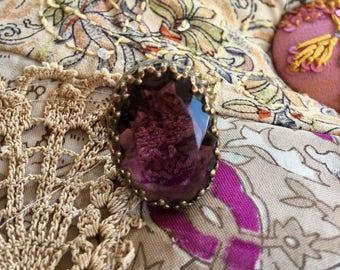 Game Thrones Purple Amethyst Statement Ring Reign Jewelry Vintage 1940 1950 Renaissance Wedding Cocktail West Germany