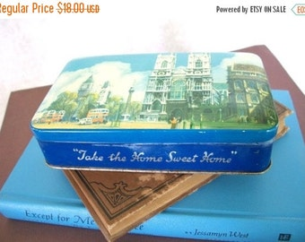 ON SALE Vintage Blue Bird Toffee Blue tin with London scene Take The Home Sweet Home made in England