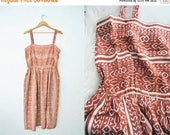 Bringing Home Baby SALE: Vintage 50s SILK Batik Print Summer Dress / Brown Taupe / Lightweight Tribal Silkscreen / Geometric