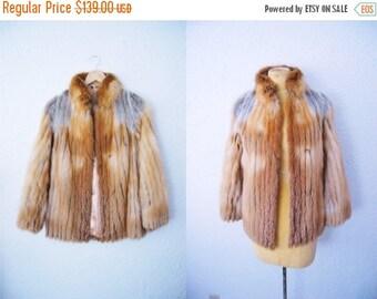 Bringing Home Baby SALE: Vintage 80s Red Golden Fox Real Fur Coat Jacket Leather Stripes Winter Trend Short Style