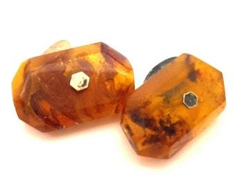 Amber Baltic Cufflinks Genuine 8.69 Gr Vintage Honey Color Huge