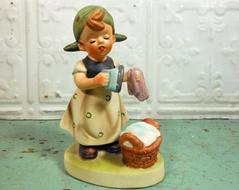 Vintage 1950s Napco Laundry Girl Figurine, Girl with Washing Basket and Iron, Made in Japan