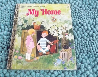 Little Golden Books My Home Vintage Book, Children's Book, Kids Books, Classic, Collectible
