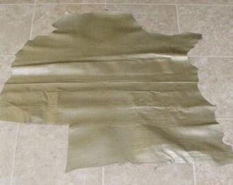 VXA7004-6) Hide of Gold Green Printed Lambskin Leather Skin