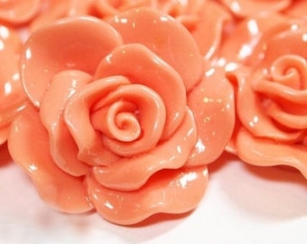 Resin Cabochon - 5pcs - Flower Cabochon - Cream Orange Flower Cabochon - Cabochon - SW005-1