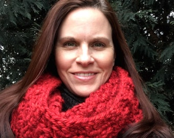 Super Chunky Crochet oversized Cowl - Scarf - Snoodie Hooded -Wrapped In Red - winter fashion - neck warmer