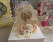 Old Fashioned Handmade Keepsake Birthday Card w/with Box and Note Card