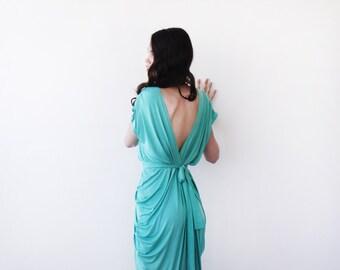 Kelly green bridesmaids short dress , Knee length bridesmaids gown 1007