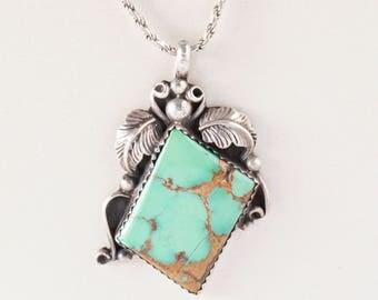 Vintage Necklace - Vintage Sterling Silver Green Turquoise Pendant