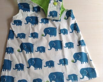 Baby girl dress size  0 Pinafore  with elephants and apples ! handmade and unique