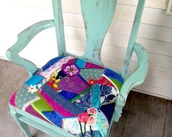Shabby Chic Boho Turquoise Hand Embroidered Crazy Quilt Chair OOAK Upcycled Recycled Handpainted Handmade Embroidered Seat Fancy