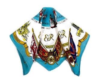Vintage English Souvenir Handkerchief - Queen Elizabeth 1953 Handkerchief, Mid Century English Hankie,