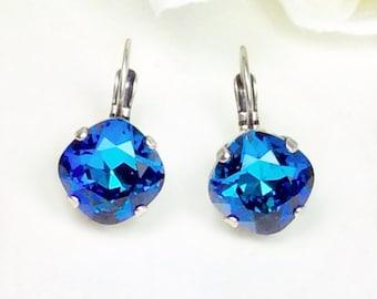 Swarovski Crystal 12MM Cushion Cut Lever- Back -Drop Earrings - Designer Inspired - Bermuda Blue - FREE SHIPPING