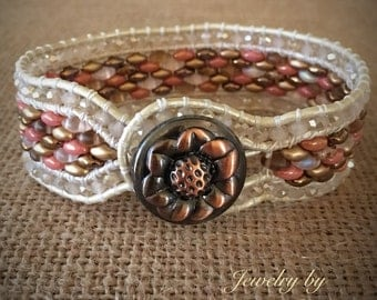 3 Row Leather Cuff Bracelet