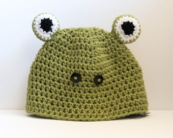 Bright Green Frog Child's Crochet Beanie Hat Made to Order