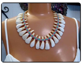 Rare Native Donkey Teeth Tribal Necklace - Woven Ties - 1940's - 1950's  Jewelry  Neck-9000a-021917075