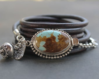Turquoise bracelet - Natural turquoise, sterling silver leather multi-wrap bracelet, turquoise boho jewelry, spiritual journey jewelry