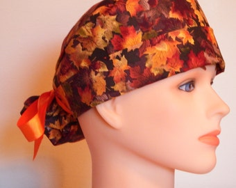 Fall Print Pony Tail Style Surgical Hat