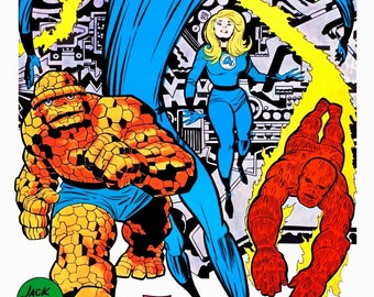 The Fantastic Four Marvelmania 24 x 36 Reproduction Character Poster - Comic Collectibles Collector Memorabilia Retro Gift Idea Superheroes
