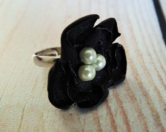 BLACK satin flower ring, with three faux pearls - size 6.5+ adjustable ring, bridesmaid jewelry, flower jewelry, ready to ship