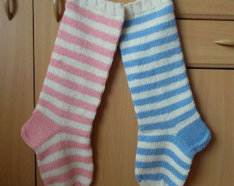 Christmas Stocking Personalized Wool knit Striped Christmas decoration Pink Light Blue Yellow Orange Brown Red Grey White Green Blue