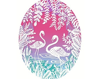 8x10 Print - Flamingos - Original Papercut Illustration - Fine Art Print