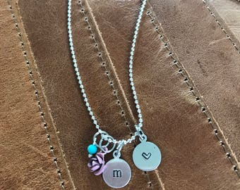 Hand Stamped Mommy & Daughter initial necklaces