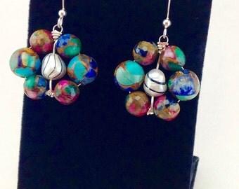 Colorful earrings,sterling silver earrings,pearl earrings,mosaic quartz earrings,beaded earrings,wire wrapped earrings,drop earrings silver