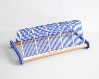 Vinyl storage, record rack, record storage, West German wood rack, Mid-Century 60s blue